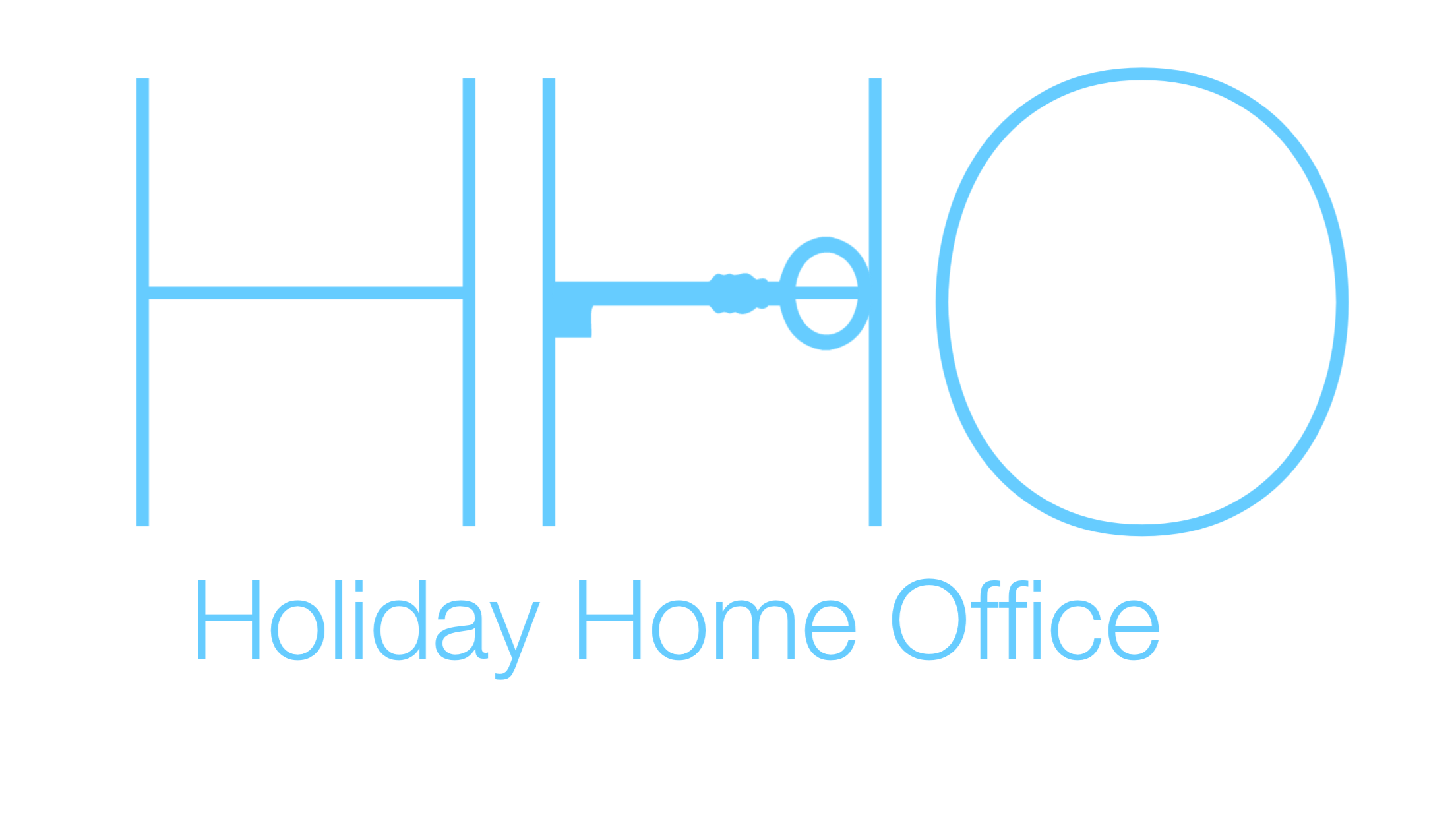 Logo for Holiday Home Office, pale blue with Key